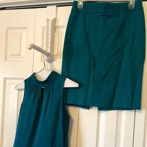 Dark turquoise blouse and skirt